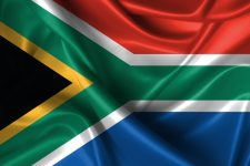 Realistic wavy flag of South Africa.